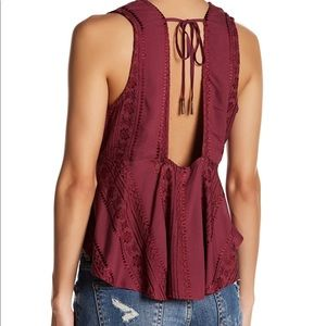 Free People• NWT Bohemian V-Neck Tie Back Tank